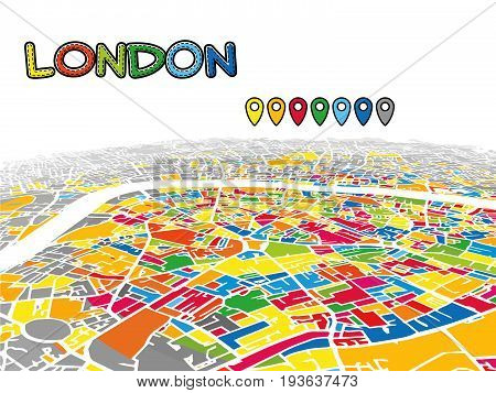 London, United Kingdom, Downtown 3D Vector Map