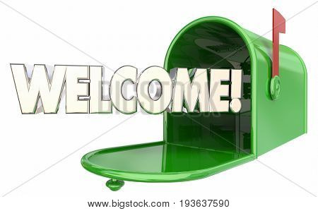 Welcome Mailbox Message New Resident Greeting 3d Illustration