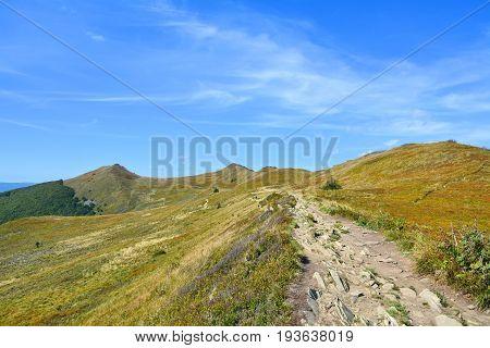 Polish mountains Bieszczady National Park Polonina Welinska in Poland. Carpathian Mountains