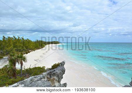 Paradise beach on Eleuthera island Bahamas. Scenic view