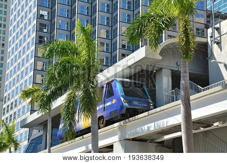 MIAMI USA - MARCH 19 2017 : Metromover train in Downtown Miami. Metromover is a free automatic transport system in Miami