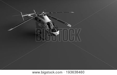 3D RENDERING OF HELICOPTER ON BLACK PLAIN BACKGROUND