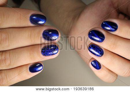 Manicure Design Blue Nails
