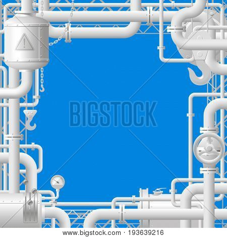 White gas pipes on blue background. Industrial frame and template