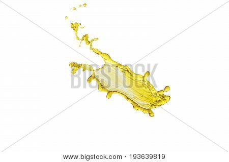beautiful yellow liquid splash isolated over white background and many drops