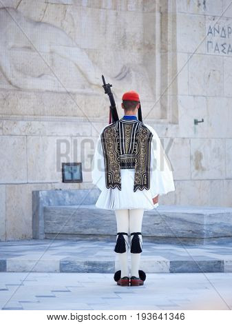 ATHENS,GREECE-MAR 20:The Evzones - elite unit of the Greek Army that guards the Greek Tomb of the Unknown Soldier during the celebrations for the Independence Day,March 20,2017 in Athens,Greece