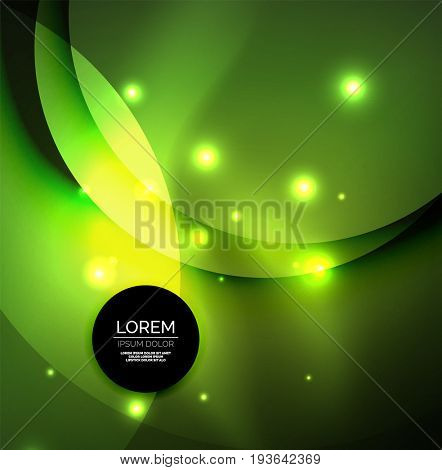 Overlapping circles on glowing abstract background with shining light effects, green magic style design template