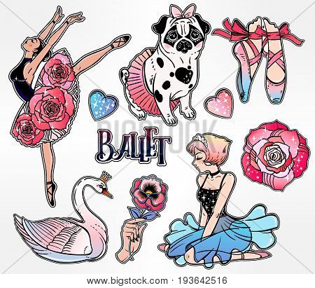 Set of cute ballet related classic flash tattoo style patches or elements. Set of elegant stickers, pins, in 90 s comic style. Pop art items. Fashionable vector collection, vintage kit.