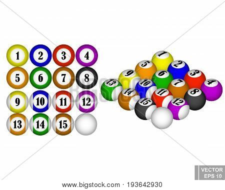 Set. Billiard Balls. A Game. Sport. 3D. Isolated On White Background.
