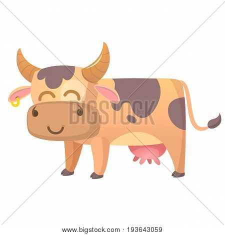 Vector illustration of Cartoon Cow. Farm animal isolated on white background