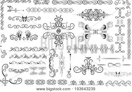 vector set of the isolatred decorative ornamented elements