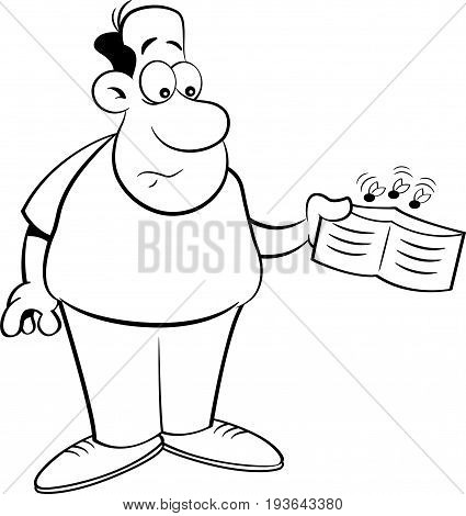 Black and white illustration of a man holding an empty wallet.