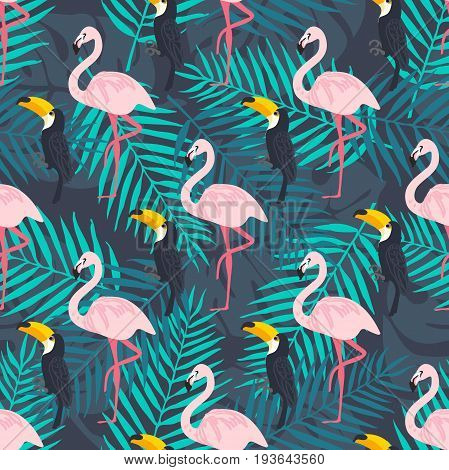 Tropical trrendy seamless pattern with pink flamingo, tropical leafs. Beach background. Tropical paradise