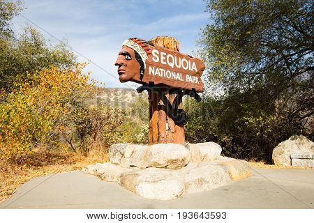 Entrance to Sequoia National Park on Generals Hwy in California, USA