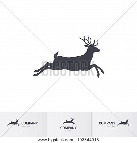 Illustration of Running Horned Deer Silhouette for Mascot Logo Template on White