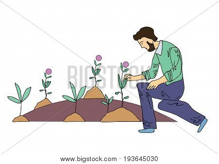 Sad man tending the flowers in the flowerbed or on the grave. Vector illustration, isolated on white background.