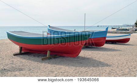 Boats in the sand Badalona Mediterráneo's beach Barcelona Spain