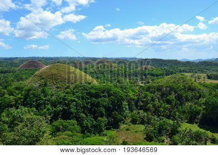 Chocolate hills, Bohol province, the Philippines. March 2016