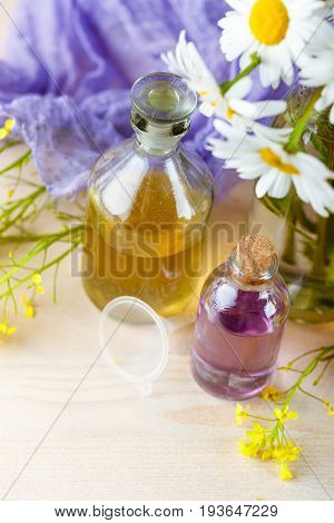 Bottles with tinctures or oil from medicinal herbs and wild flowers. Herbal medicine.