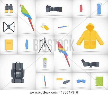 Birding travel flat vector icons set big set of flat design birdwatching hobby and adventure objects with round shadows isolated on the white background vector illustration