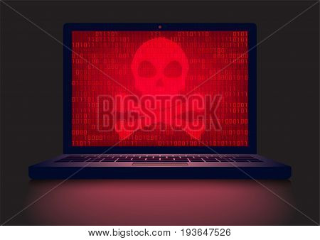 Laptop in a dark room with red skull and crossbones on glowing binary code screen background