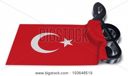 clef symbol symbol and flag of turkey - 3d rendering