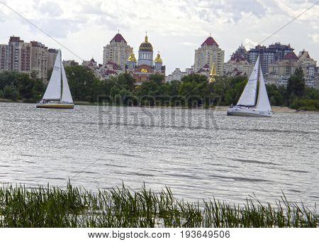 Yachts on the Dnieper in the Obolon area. Kiev. Ukraine