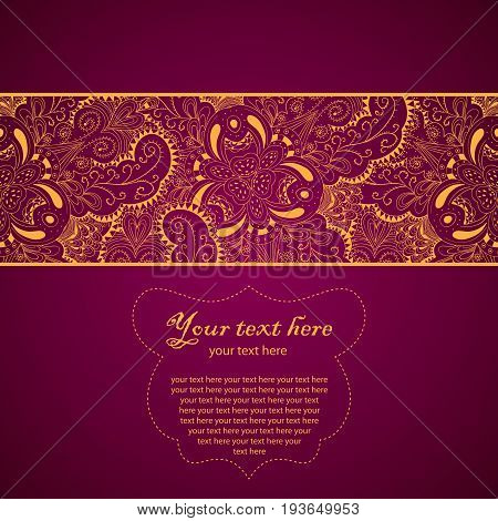 Vintage Lace Ornament Card with words your text here vector illustration