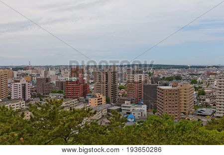View of Akita City from Osumi-yagura Tower of Kubota Castle. Akita is the capital city of Akita Prefecture Japan and has been designated a core city since 1 April 1997