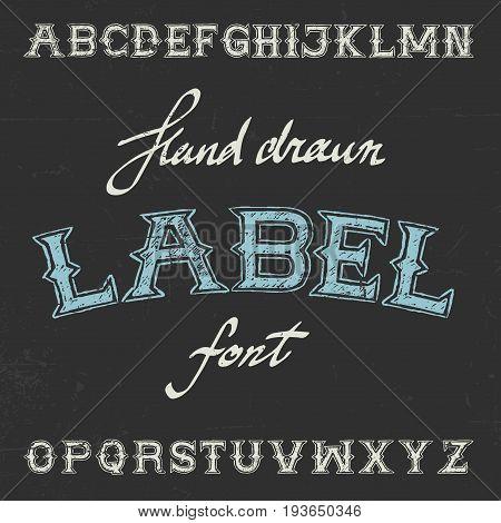 Vintage Label Font Poster with alphabet on the black background vector illustration