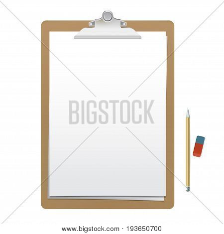 Realistic wooden clipboard with white empty page, pencil and eraser isolated on white background. Vector mockup for your sketches and business presentation.