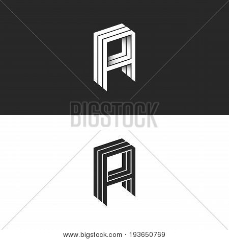 Isometric Letter A Logo Hipster 3D Monogram. Aaa Initials Mockup. Perspective Geometric Shape Typogr