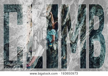 Double exposure of young woman in safety harness with equipment on rock wall outdoor and word climb.
