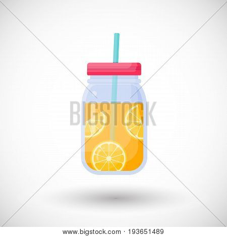 Orange juice in mason jar vector flat icon Flat design of smoothie bar drink foodobject with round shadow isolated on the white background cute vector illustration with reflections