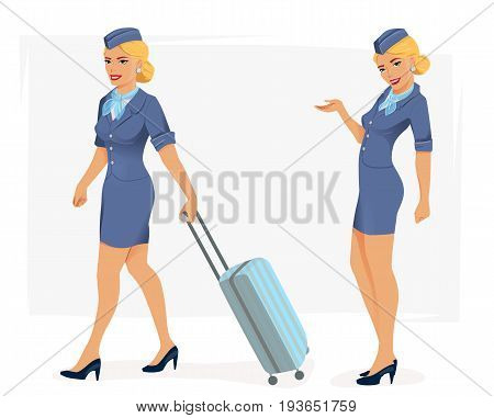 Vector illustration of smiling stewardess in blue suit.