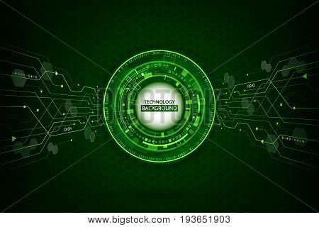 Abstract digital technology concept. High tech computer innovation on the green background. Vector illustration eps10