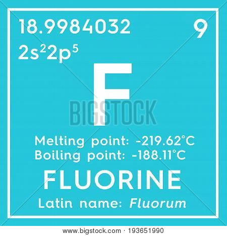 Fluorine. Halogens. Chemical Element of Mendeleev's Periodic Table. Fluorine in square cube creative concept.