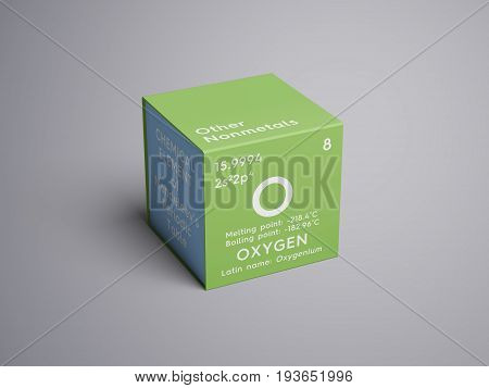 Oxygen. Other Nonmetals. Chemical Element of Mendeleev's Periodic Table. Oxygen in square cube creative concept.
