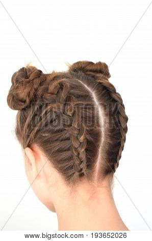Hairstyle braiding on medium length - Brown hair