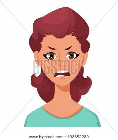 Face expression of a woman - anger. Female emotions. Attractive cartoon character. Vector illustration isolated on white background.