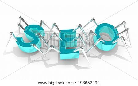 SEO Search Engine Optimization Crawler Bots 3d Illustration