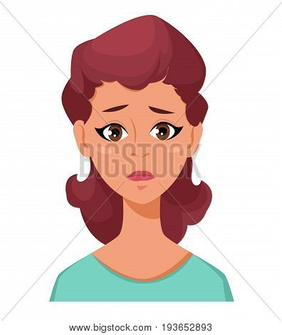 Face expression of a woman - frustration. Female emotions. Attractive cartoon character. Vector illustration isolated on white background.