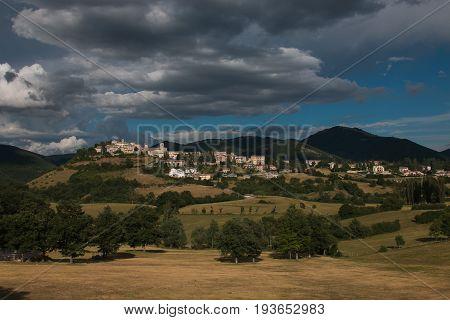 Panoramic view of Monteleone di Spoleto in Umbria