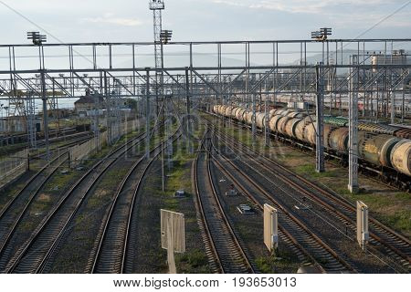 JUNE 26, 2017, ADLER RUSSIA: railway station view from above with the trains