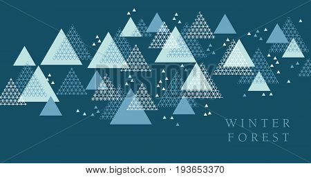 Concept winter geometry design element. Modern style vector illustration for header, card, poster, invitation. Abstract line grid pattern triangle motif for winter and xmas projects.