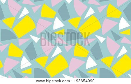 Modern geometry seamless pattern vector illustration. Surface design for print and web in yellow, rosy and blue color. Funky,  dynamic summer motif. Modern tech textile print.