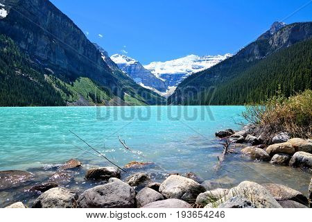 Beautiful View Of The Iconic Lake Louise, Banff National Park On A Sunny Day, Alberta, Canada