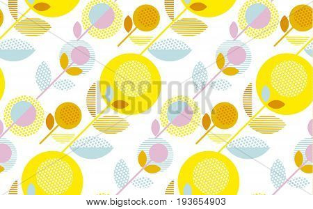 modern summer pale color floral seamless pattern vector illustration. Print and web surface design template for background, wrapping paper, fabric