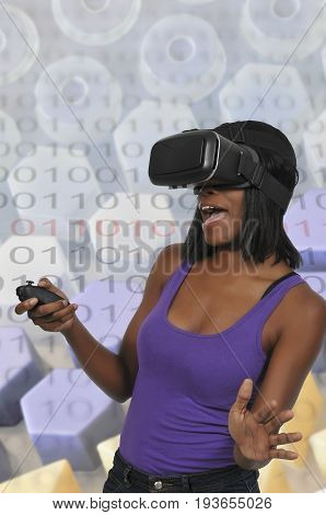 Young woman wearing a set of virtual reality goggles