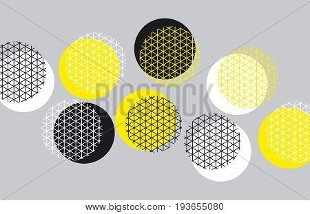 Circle geometry pattern with line mash.  Grid style motif for surface design for print and web. Modern geometry tech vector illustration for header, card, invitation.